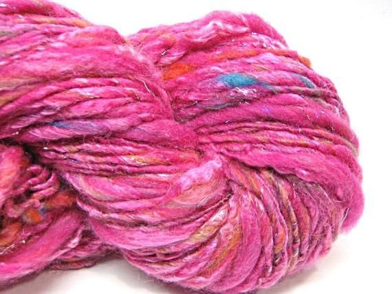 Handspun yarn, spun in merino wool, bamboo silk and sparkly angelina-  87 yards, 2.65 ounces/ 76 grams