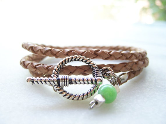 Natural Nude Braided Leather Bracelet with Silver Rope Toggle Clasp, Jade and Sterling Silver Charm