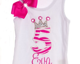 Custom Boutique Personalized Fancy Birthday Number Age Letter Crown Leotard Shirt Tee Tank Design Your Own Birthday Couture Shirt