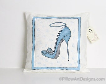 High Heel Shoe Art Pillow Cover Blue and Cream Hand Painted 14 X 14 Made in Canada