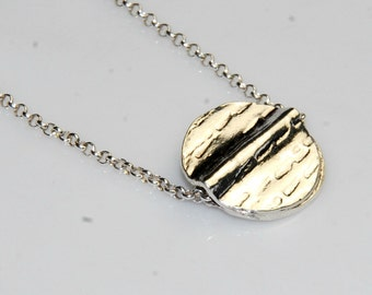Sterling Silver Circle Necklace - Simple Jewelry - Hammered Silver