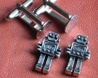 Cuff link Kit ROBOT charms Mens gift Silver plated cufflink blanks Do it yourself Robots Oxidized silver zinc over brass