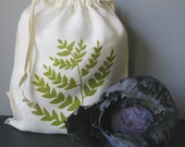 Organic Linen Drawstring Produce Bag- Screen Printed with Fern Design- Reuseable Bag