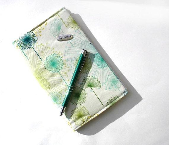 Reusable small journal notebook cover, travel journal, dandelions blue green