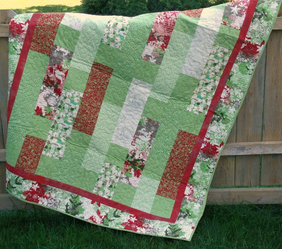 FALL SALE!  Blitzen Holiday Lap Quilt