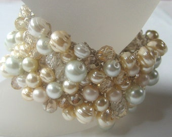 Wedding Bridal Cuff Bracelet, Light Gold PEAR ICE Champagne Crystal, Freshwater Pearl, Ivory, White, Wide Width Hand Knit, Sereba Designs