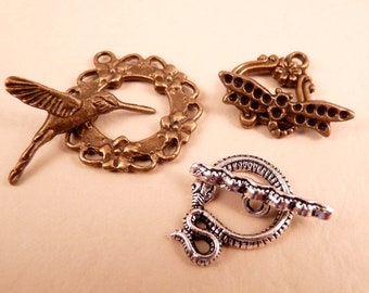 Toggle Clasp Silver Toggle Clasp Brass Toggle Clasp Silver Findings Brass Findings Silver Toggle Clasp Hummingbird Dragonfly Snake