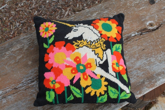 Funky Unicorn and Flowers Needle Point Pillow