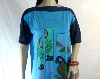 70's SLOUCH MINI DRESS Floral Birds Caribbean Islands S M