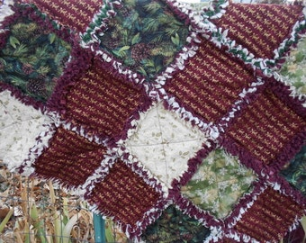 Rag quilt, Christmas,  shabby chic, cottage, cabin, rag quilt, baby, pine cones