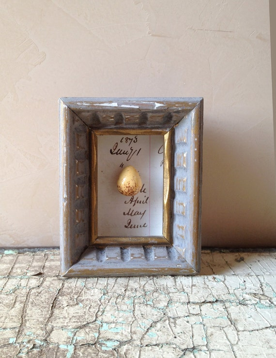 Mixed Media Egg on Vintage Ledger Shadow Box