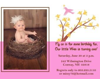 """Birthday Party Invitation """"Little Bird"""""""