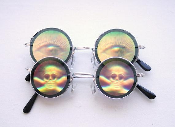 Halloween Accessories - Hologram Circle Sunglasses - 90s grunge - Skull Love or Eyes