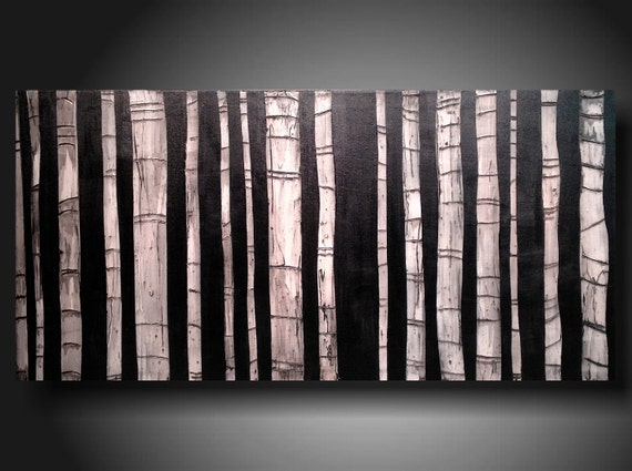 ORIGINAL Contemporary Fine Art Abstract Textured Painting modern 24 X 48 Inches ------- Textured--- --black and white--- Trees