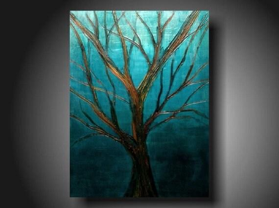 Art original Abstract painting Original Painting Art  JMJARTSTUDIO Original Painting 18 X 24 Inches----Copper--Textured---Tree