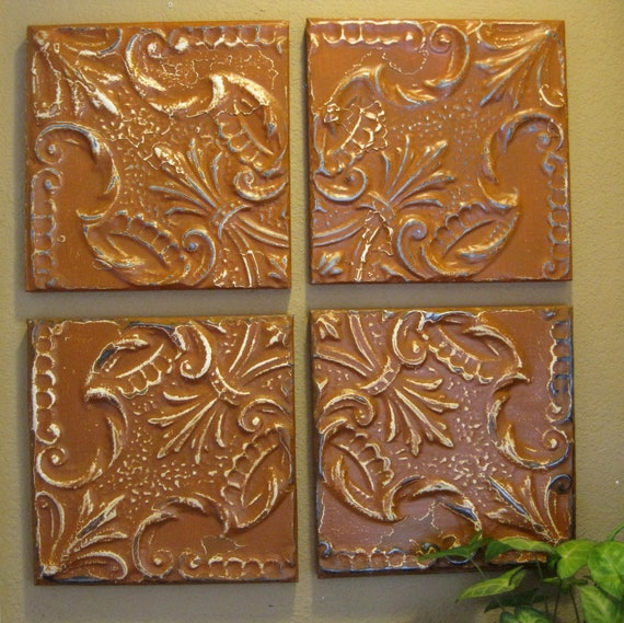 "ALL 4 Antique Ceiling Tin Tiles Framed Circa 1900. Burnt orange. EACH framed tile measures 11 1/4"" square."