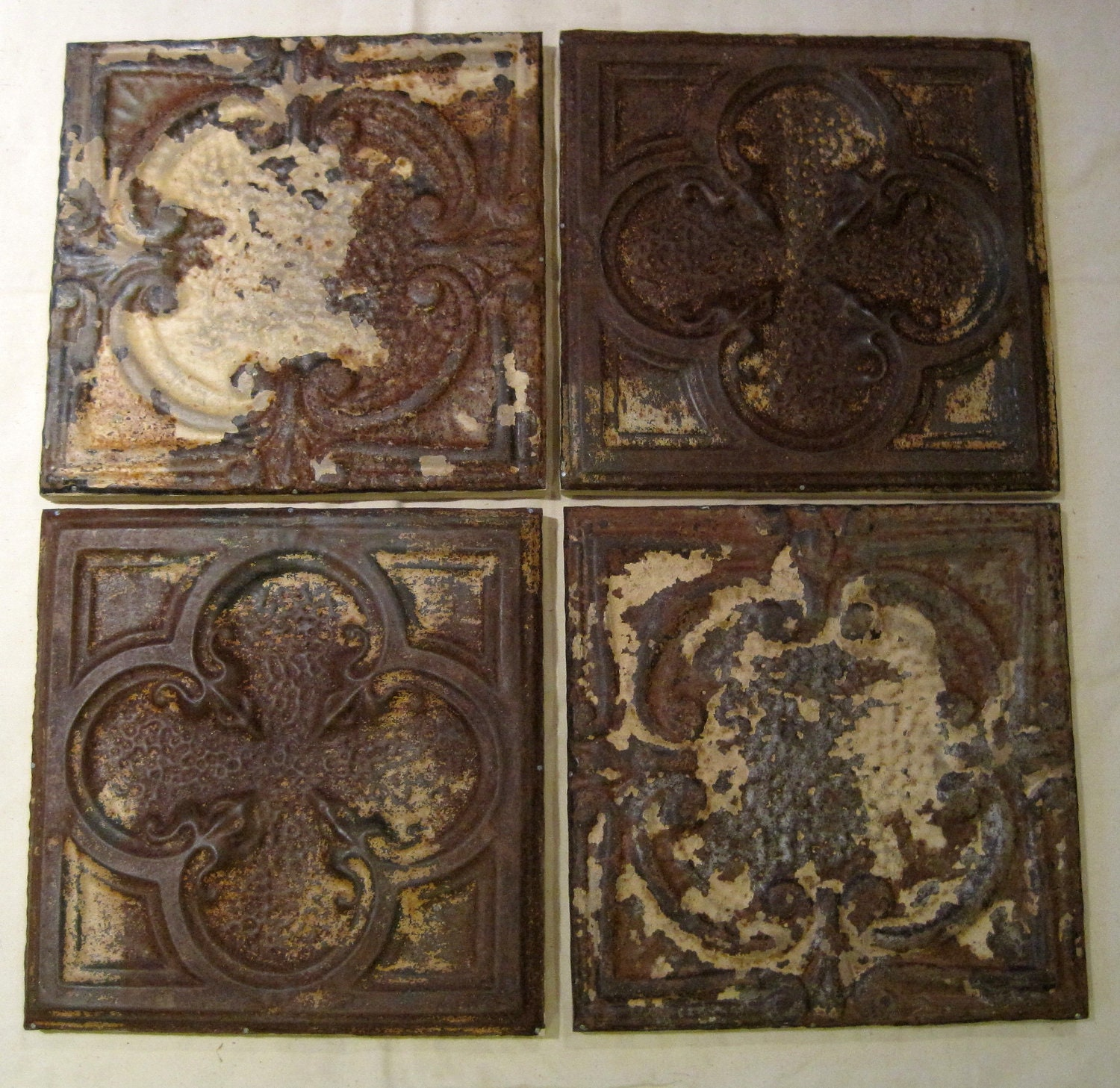 All 4 Antique Ceiling Tin Tiles Circa 1900 Framed Amp Ready To