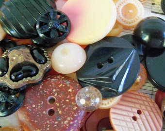 20 Buttons, Black and Orange, Halloween, Vintage and New