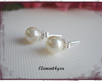 Pearl Stud Earrings Swarovski 6mm Cream White Ivory Sterling Silver Flower Girl Earrings Bridesmaid gift Bridal Party Wedding Jewelry