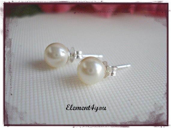Pearl Stud Earrings Swarovski 6mm Cream White Ivory Sterling Silver Flower Girl Earrings Bridesmaid gift Bridal Party Wedding Jewelry