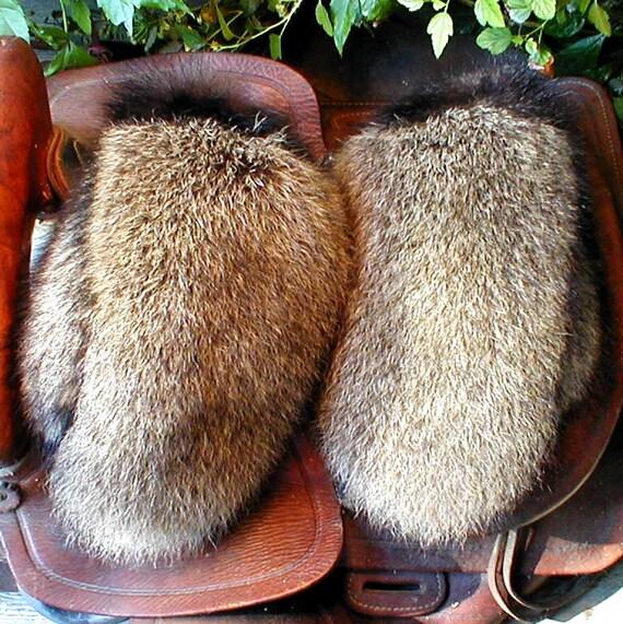 Raccoon fur mittens with skunk fur trim and red fleece liner handmade X large