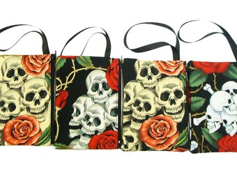 Pack of 6 piece of Electronic device cluch purse, pouch wristband makeup bag, cosmetic bag Skulls Rose Tattoo design print exterior