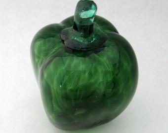 hand blown glass bell pepper GREEN