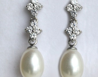 Freshwater pearl Bridal Earrings Crystal Wedding