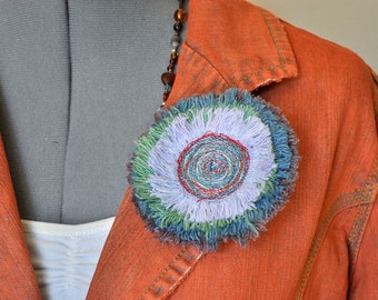 """Dyed Fringed Denim BROOCH PIN - Blue Brown Red Green Denim Circle Corsage Brooch 4"""" Pin - 18"""