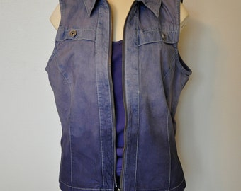 Purple Medium Denim VEST - Grey Violet Hand Dyed Upcycled Denim Ombre Style Christopher Banks Denim Vest - Adult Womens Medium (40 chest)