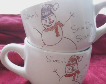 Christmas Mugs, Holidays, Personalized Gift Mugs Snowman Couples Gift Snowman Mugs Snowman, GIft Cocoa Cup Hot chocolate Snow Day Winter 2