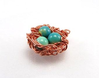 Birds nest pendant, bird nest necklace, nest charm, custom copper nest