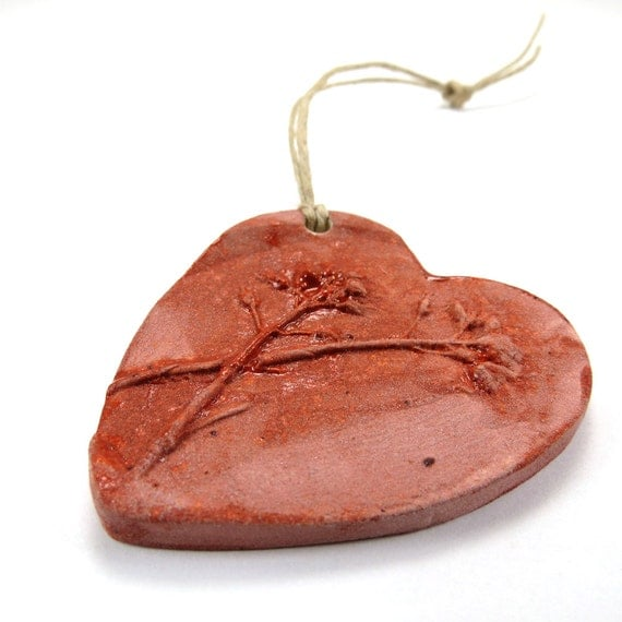 Holiday ornament, Ceramic woodland ornament, red wildflower Christmas heart