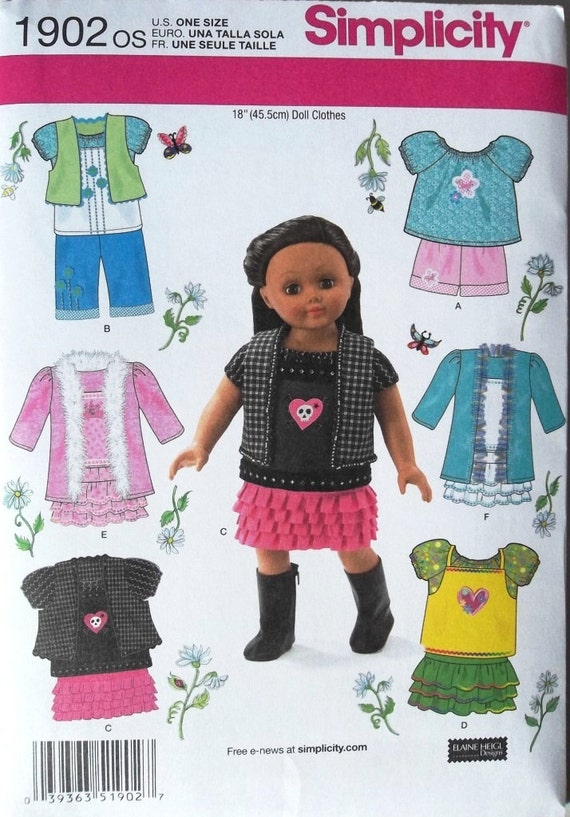 American Girl Style Doll Clothes for 18 inch Doll Simplicity 1902 uncut sewing pattern