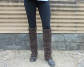 Recycled brown yarn legwarmers, eco friendly, long, warm, rustic, cable knit in infinity pattern