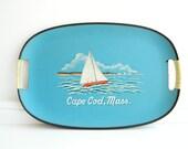 Cape Cod sea blue souvenir serving tray with sail boat