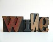 Vintage Letterpress Type WiNe Printers Blocks