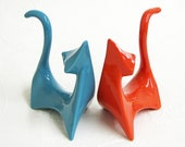 Customize Your Colors - Ceramic Cat Figurines Retro Atomic Mid Century Modern Minimalist Shown in Aqua and Tangerine - Made to Order