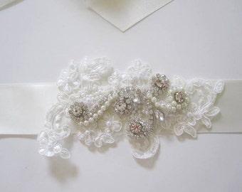 Wedding Dress Beaded Lace Belt Embellished Sashes Embellishment Applique Belts