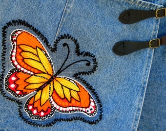 SALE / Vintage Jean Shorts / Vintage Skort / Mini Skirt / Butterfly / Hot Pants / Monarch Butterfly Patch / Jean Skirt / Hippie Patch