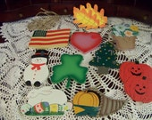 10 Finished Wooden Seasonal Cutouts with Hook for Diy Project