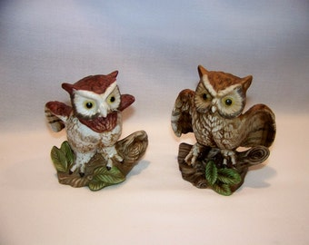 Vintage Hand Painted Porcelain Home Interiors Homco Owl Figurines