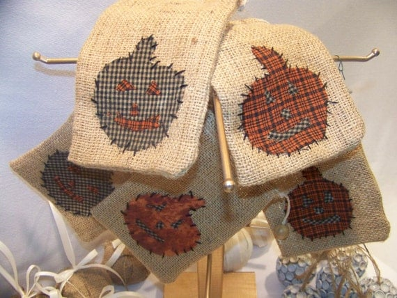 Set of 5 Handmade Halloween Burlap Bags for Treats or Bowl Fillers