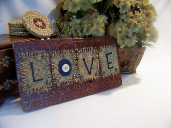 Love primitive christmas decor handmade barn wood sign