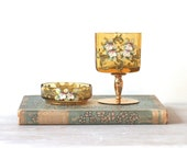 Vintage Bohemian Glass Cigarette Ashtray Set Porcelain Floral Detail - ivorybird