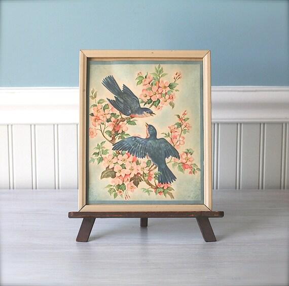 Vintage Framed Bluebirds Pink Dogwood Print Cottage Charm