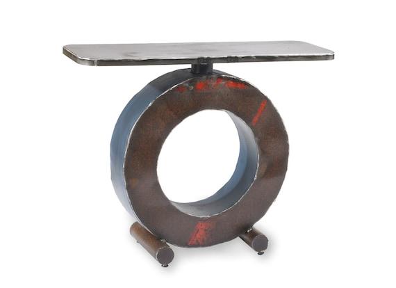 Metal Table Big O Rust and Blue