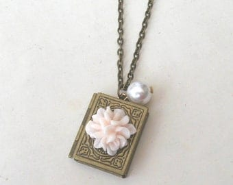Book Locket Necklace with Flower & Pearl, Bridesmaid Necklace, Book Necklace, Flower Necklace