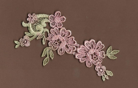Hand Dyed Floral Venise Lace Applique  Vintage Shabby Rose and Sage
