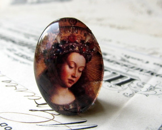 Renaissance Religious art - handmade glass oval cabochon 25x18mm 25x18 25 x 18 25mm 18mm floral crown, woman, brown, flower halo